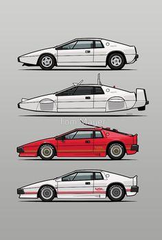 'Esprit Spy Quartet' by Tom Mayer James Bond Cars, James Bond Style, Estilo James Bond, Ferrari, Maserati, Lotus Esprit, Lotus Car, Car Posters, Futuristic Cars