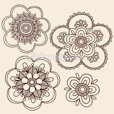 Diseño vectorial henna mehndi mandala flores doodle — Ilustración de stock #8248580