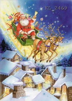 Vintage Christmas Cards, Retro Christmas, Christmas Greeting Cards, Christmas Pictures, Christmas Art, Christmas Greetings, Winter Christmas, Beautiful Christmas Scenes, Father Xmas