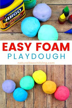 How to Make Shaving Cream Play dough Recipe - Rainbow Foam Dough - Natural Beach Living - How to Make Shaving Cream Play dough Recipe – Easy Foam Dough, Shaving Cream Playdough Recipe, Yo - Easy Playdough Recipe, Cooked Playdough, Homemade Playdough, Play Dough Homemade, Homemade Paint, Spring Activities, Craft Activities For Kids, Toddler Activities, Projects For Kids