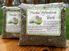 Herbal after birth bath for mom and baby Ingredients: Comfrey leaf, Lavender flower, Shepherd's Purse, Uva Ursi leaf, Plaintain leaf, Red Raspberry leaf, Yarrow flower & Sea salt. This Herbal Bath can be used to aid in healing of Mom's tissues and baby's cord after birth.