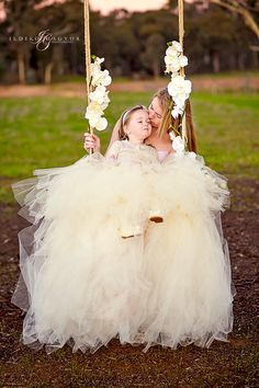 Mother and daughter wearing apricot tutus.