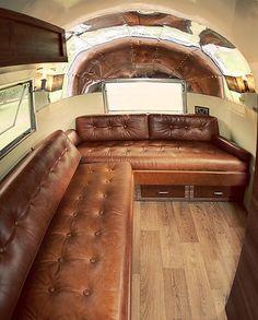 caravan, brown leather sofa