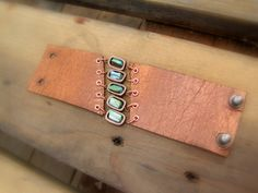 Leather Cuff Bracelet in Metallic Bronze with Mint Green Shell Beads and Copper