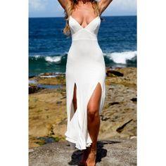 Dresses - Spaghetti Strap Goddess Front Slit Maxi Dress