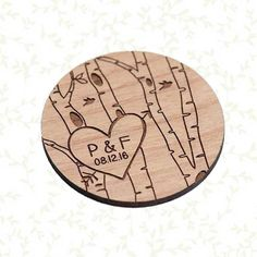 50 Rustic Birch Tree Save the Date Magnets by StylineDesigns