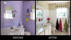 Diane Henklers bathroom, before and after.