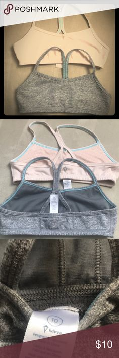 2 Ivivva basic sports bras, gray & beige Staples for your girl's closet. Racer back bras in excellent condition. Worn once each. Poly, nylon, Lycra blend.  Feels like cotton, but is actually performance fabric. Ivivva Accessories Underwear