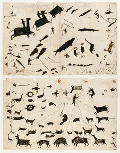 Drawing Attributed to Wacochachi, 1830 Geography: United States, Iowa Culture: Meskwaki Medium: Paper, ink, sealing wax Art And Illustration, Illustrations, Arte Tribal, Naive Art, Outsider Art, Native American Art, American Pride, Ancient Art, Rock Art
