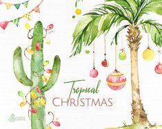 Watercolor Clipart - Buy Now Tropical Christmas. Beach Christmas, Coastal Christmas, Tropical Christmas Decorations, Watercolor Christmas Cards, Watercolor Cards, Painted Christmas Cards, Watercolor Flowers, Cactus, Clipart Noel
