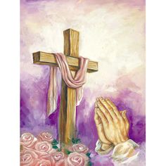 Caroline's Treasures Easter Cross with Praying Hands Flag Canvas House Size at Lowe's. Heavy Duty Polyester House Size Flag that measures approximately 28 x 40 inches. This is a sleeve pole flag that will fit a standard decorative flag pole. Easter Paintings, Cross Paintings, Cross Drawing, Easter Garden, Easter Art, Wooden Flag Pole, Outdoor Flags, Outdoor Decor, Praying Hands