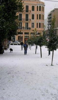 Snowy Thessaloniki, Greece