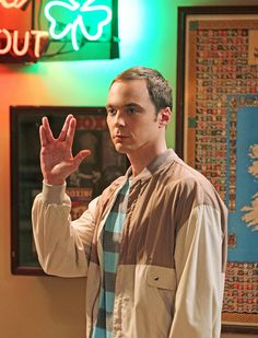 """Sheldon shows his """"Live long and prosper"""" hand sign to Penny's ex-boyfriend at a bar after Amy (his not-girlfriend) decides not to have sex with him."""