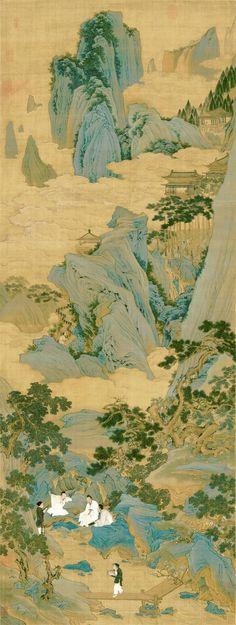 明代 - 仇英 ( Qiu Ying ) - 桃源仙境圖     絹本。縱174.6 cm,橫65.9 cm。 仇英 (1500-1560),吳門四家之一。《桃源仙境圖》是仇英青綠山水的代表作。畫中他讓高士穿上飄逸白袍,在蒼松翠柏、潺潺山澗中 - 讀書、看畫、聽泉、撫琴。遠處群峰有仙雲繚繞,宮殿高踞山巔;近處水邊綻放的桃花,暗示這裏就是桃源仙境。