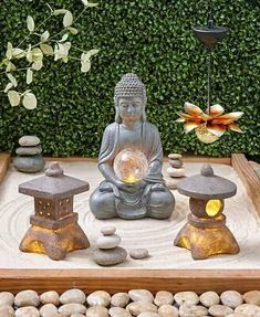 Bring a sense of tranquility to your yard with this Serenity Solar Garden Collection. Start with the Buddha Statue for that zen feeling. Flank it with a couple of Pagoda Lanterns. Complete the look with a Hanging Lotus Flower suspended above it all. Zen Garden Design, Garden Art, Garden Stakes, Jardin Zen Interior, Serenity Garden, Zen Interiors, Meditation Garden, Yoga Garden, Bali Garden