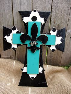 Teal and Polka Dot Hand Painted Wooden Cross by PoshReCreations, $34.00