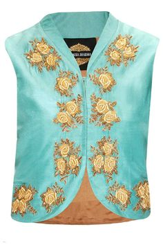 Sea green roses embroidered jacket #beautiful #couture