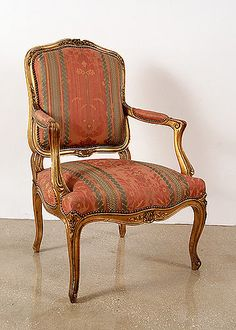 Pair of French Antique Louis XV style Giltwood Armchairs
