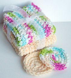 Crochet Dishcloths Washcloths  Set of 2 plus 2 Scrubbies