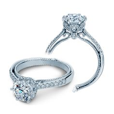 style no: VER-ENG-0429-GOLD 18 karat white gold semi-mount engagement ring with round full-cut diamonds pave and bezel-set along the shoulders, under carriage and inner face totaling in .30cts of VS clarity and G color.
