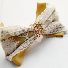 Heart-Charm Lace Bow Barrette Yellow - One Size Ribbon Hair Bows, Lace Bows, Diamond Earrings For Women, Diy Hair Accessories, Barrette, Wholesale Jewelry, Diy Hairstyles, Heart Charm, Fabric Flowers