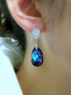 teardrop shape heliotrope swarovski crystal with by DesignByKara, $36.00