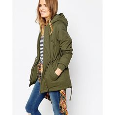 ASOS Summer Parka ($88) ❤ liked on Polyvore featuring outerwear, coats, green, summer coat, green parka coat, green hooded coat, asos and hooded parka