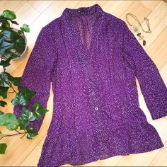 GAP dot purple blouse, medium Perfect for work and under a jacket, or throw it over jeans on the weekend. Excellent condition GAP blouse. (Excuse the modeling. The shirt is a size too big for me. :) GAP Tops Blouses