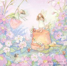 Fairies playing with cute little buggies. :) (Artist: Becky Kelly.)