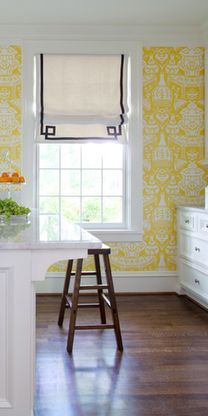 roman shades with decorative tape trim; wallpaper