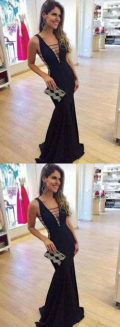 Fashion Mermaid Deep V-Neck Black Satin Long Prom Dress Evening Dress #sexyblackmermaidpromdresses #prom #dresses #longpromdress #promdress #eveningdress #promdresses #partydresses #2018promdresses