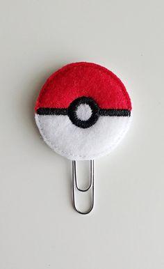 Poke Ball Planner Felt Paperclip   Bookmark   Clip   Planner Accessories   Feltie   Planner Clip   Video Game   Pokemon Ball   Go Ball