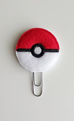 Poke Ball Planner Felt Paperclip | Bookmark | Clip | Planner Accessories | Feltie | Planner Clip | Video Game | Pokemon Ball | Go Ball