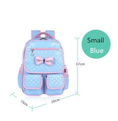 3de81ae6ef6e high quality children school bags for girls light blue leather backpack  pink bow waterproof student bag birthday gifts bookbag