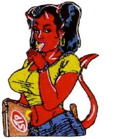 """[Single Count] Custom and Unique (2.5"""" x 3.1"""" Inches) Cartoon Sexy Demon Horned Shoolgirl Sucking Popsicle & Holding Text Book Iron On Embroidered Applique Patch {Red, Yellow, Black & Tan Colors} mySimple Products"""