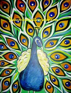 Peacock Original Acrylic Painting 22x28 by PeacocksGallery on Etsy, $120.00