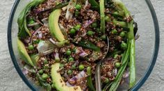 Quinoa, pea and chargrilled spring onion salad