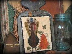 Primitive Punch Needle Turkey Hornbook | eBay