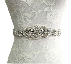 """- Luxury sash belt features gorgeous rhinestone and ribbon. - Size: 106""""(L)x0.8""""(W),270cm*2cm. Applique measures: 14""""(L)x2""""(W), 35cm*5cm. - Self-tie bow in the back. Graceful design for your wedding g"""