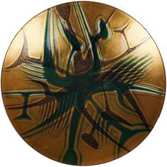 MCM Abstract Enamel on Copper Plate Dish Green & Gold Mid Century Modern Design