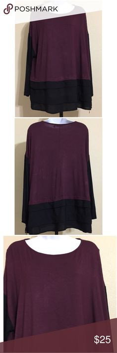 🎉HP 12/20🎉Apt. 9 Woman Blouse Size 1X Apt. 9 Woman Women's Blouse Size 1X Purple & Black Colors Purple Base Black Sleeves & Bottom Hem Tiered Bottom Hem ( Black Portion ) Long Sleeve Round Collar Machine Washable Purple Portion 97% Rayon 3% Spandex Black Portion 100% Polyester Armpit to Armpit Approx. 26 Inches Length From Rear Collar Approx. 27 Inches Shoulder Approx. 19 Inches Compare Measurements To Your Own Well Fitting Garment To Ensure A Great Fit New With Tag Apt. 9 Tops Blouses