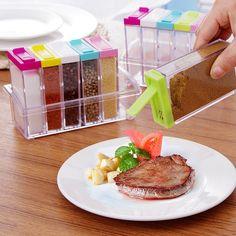 6pcs/set Food Grade Seasoning Boxes Spice Jar Kitchen Spice Storage Bottle Jars Seasoning Bottle Container Kitchen Tools