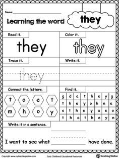 Practice recognizing the sight word THEY with My Teaching Station Learning Sight Words printable worksheet. Your child will practice recognizing the letters that make up the sight word by tracing, writing and finally reading it in a sentence.