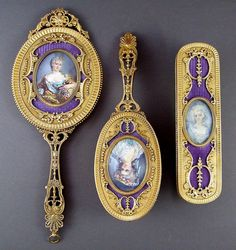 Antique French Guilloche Enamel & Bronze Miniature Portrait 3 pcs Mirror / Brush Vanity Set.