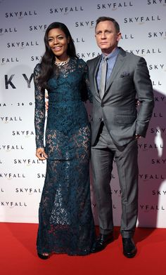 Daniel Craig and Naomie Harris hit the red carpet at the premiere in Rome.