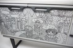 Up-Cycled Vintage Sideboard with hand drawn illustrative motif. via Etsy.