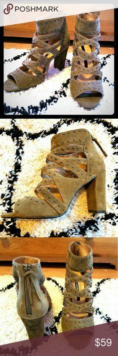 Kensie Khaki Suede Studded  High Heel Sandals NEW! Never Worn. Easy in Zipper in the back with tassel pull, brushed suede, antique metal studding details, open design peep toe sandals Kensie Shoes Heels