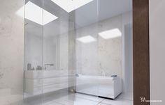Biała łazienka w marmurze na poddaszu, w suficie świetliki dachowe. www.bartekwlodarczyk.com