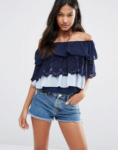 Boohoo | Boohoo Off the Shoulder Tiered Lace and Ruffle Top
