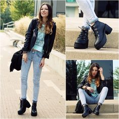 Boots, Jacket, New Look Jeans, Primark Top